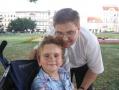Michał z tatą Krzysztofem